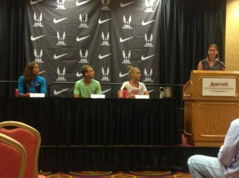 Lolo Jones, Erik Sowinski and Lisa Uhl join USATF's Katie Branham Tuesday in Des Moines.